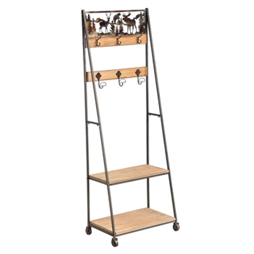 Lodge Scene Metal Coat Rack with Shelves