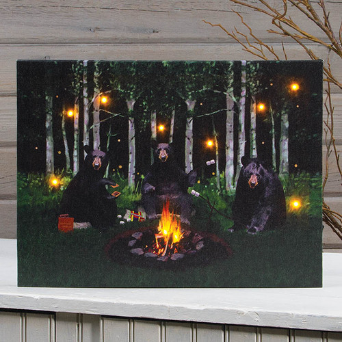 Bears Canvas with TimerLighted Smore