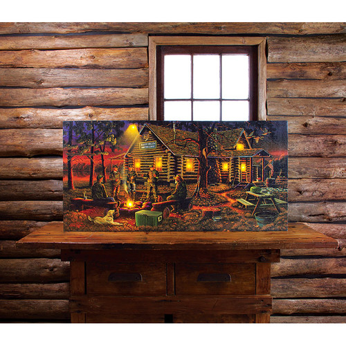 Lighted Large Campfire Memories Canvas