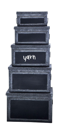 Metal Bins w/ Chalkboard Front, Set of 5