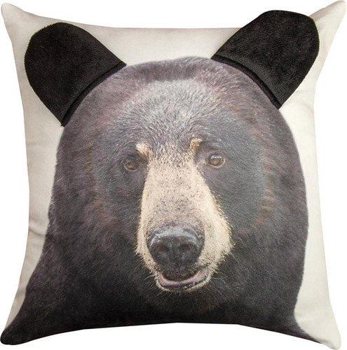3D BLACK BEAR PRINTED PILLOW 18""