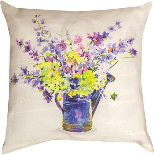PURPLE FLOWERS IN WATERING CAN PILLOW