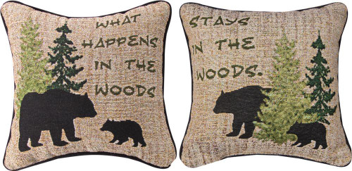 WHAT HAPPENS AT THE WOOD ....  PILLOW