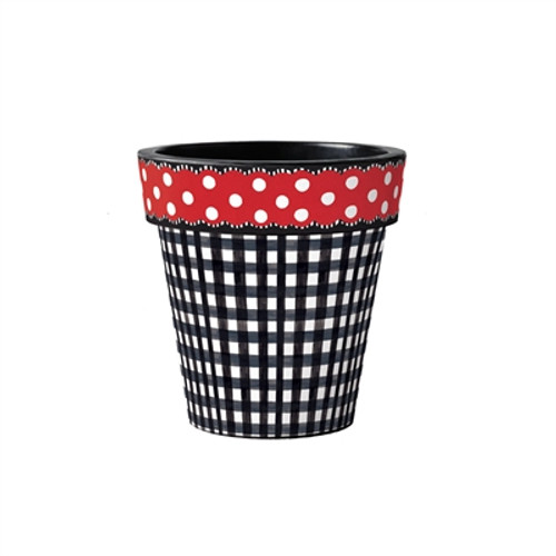 "Black Gingham with Red Dots 12"" Art Planter"