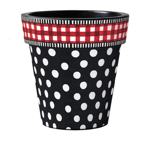 "Black with White Dots  18"" Art Planter"