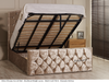 Olivia gas lift ottoman bed shown in mink crush velvet fabric with diamante buttons