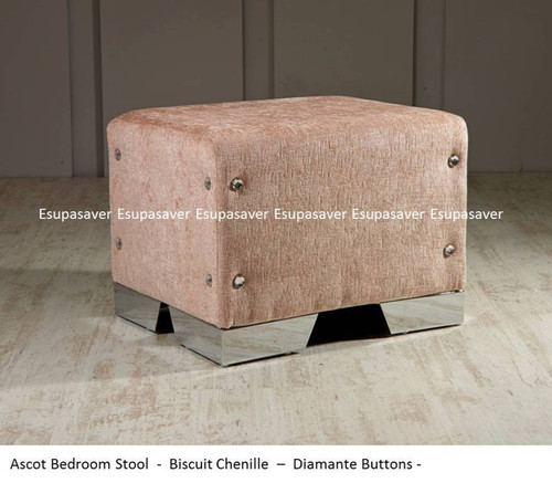 Ascot Bedroom Stool. Available in Crush Velvet, Chenille, Linen or Faux Suede Fabrics