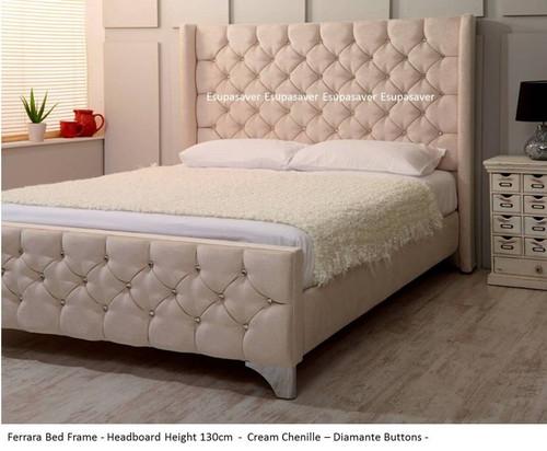 Ferrara Wing Bed Frame Available In Crush Velvet