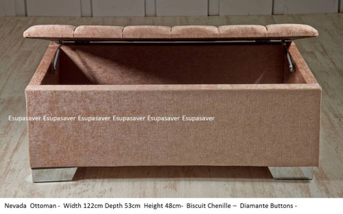Nevada Ottoman Available in Crush Velvet, Chenille, Linen or Faux Suede Fabrics