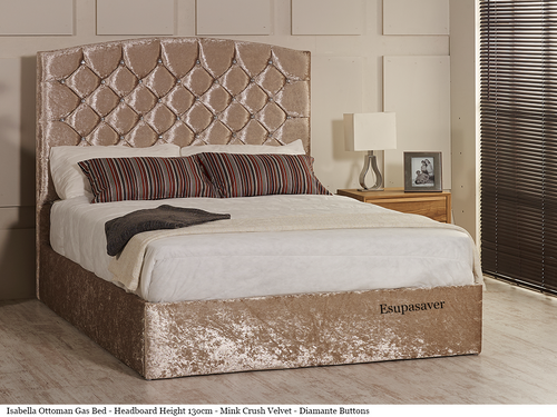 Isabella Gas Lift Ottoman Storage Bed Frame. Available in Crush Velvet, Chenille, Linen or Faux Suede Fabrics