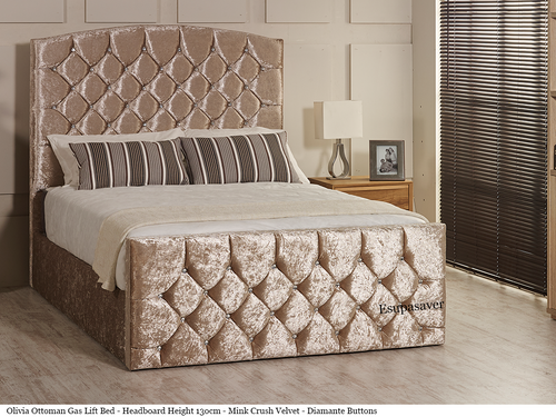Olivia Gas Lift Ottoman Storage Bed Frame. Available in Crush Velvet, Chenille, Linen or Faux Suede Fabrics
