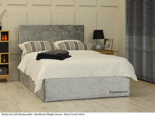 Berlin gas lift ottoman bed silver crush velvet