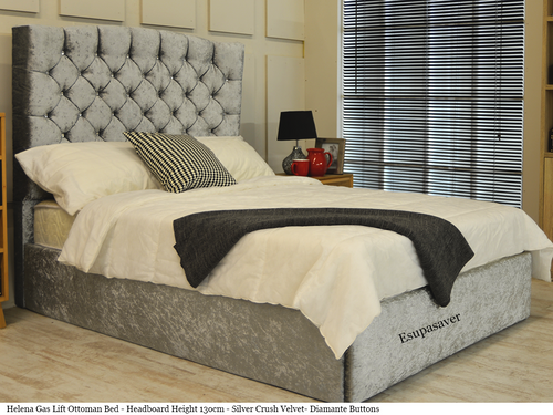 Helena Winged Gas Lift Ottoman Storage Bed Frame. Available in Crush Velvet, Chenille, Linen or Faux Suede Fabrics