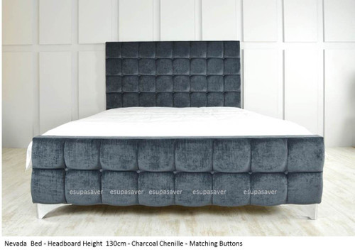 Nevada Bed Frame. Available in Crush Velvet, Chenille, Linen or Faux Suede Fabrics