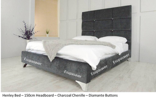 Henley Bed Frame.. Available in Crush Velvet, Chenille, Linen or Faux Suede Fabrics