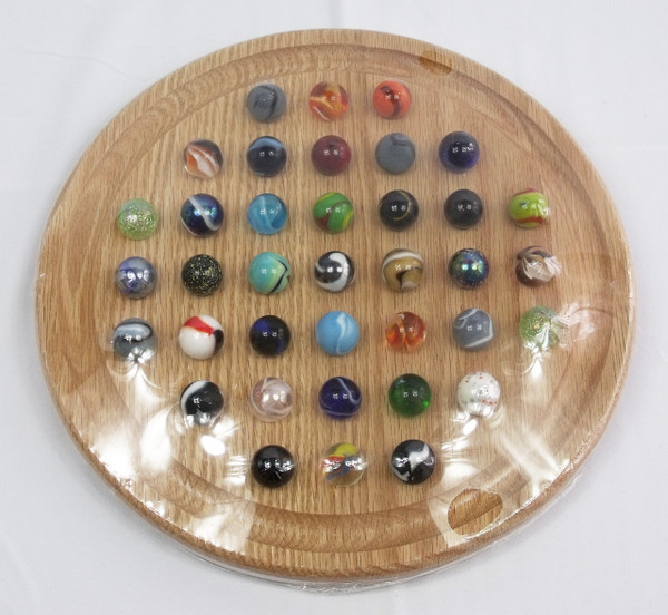 Large Round Marble Solitaire - Oak