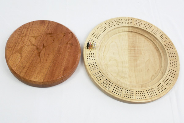 Four Player Cribbage Board Wolf Mahogany and Curly Maple