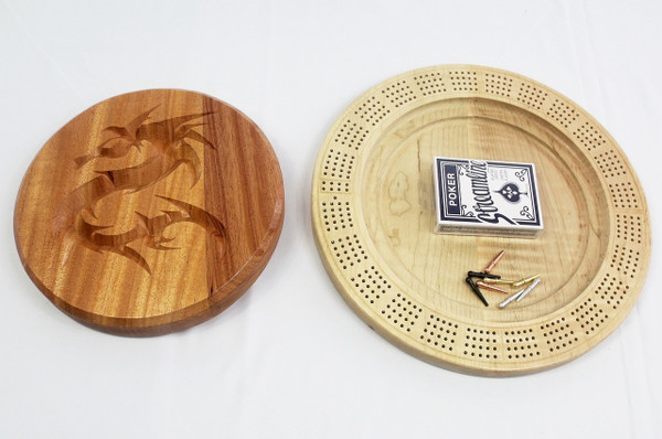 Four Player Cribbage Board Dragon Mahogany and Curly Maple