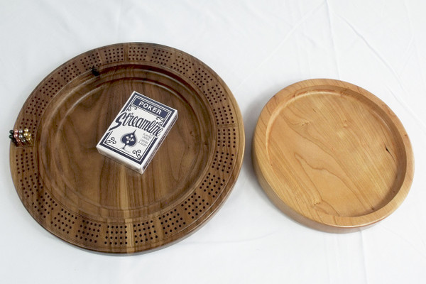 4 Player Cribbage Board Leaping Bass Cherry and Walnut