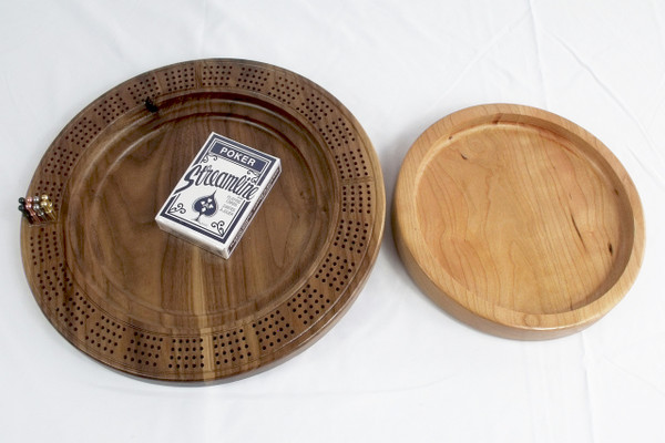 Four Player Cribbage Board Eagle Head Cherry and Walnut