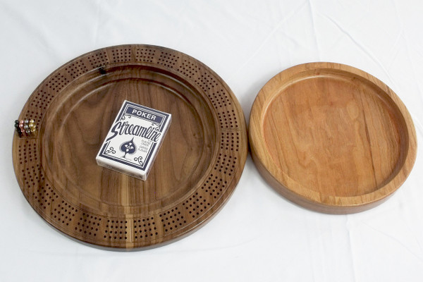 Four Player Cribbage Board Trinity Knot Cherry and Walnut