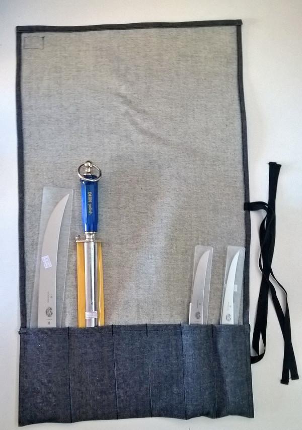 Blue Denim Knife Roll 6 Pocket