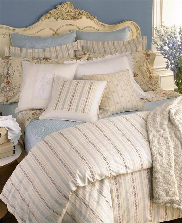 Ralph Lauren Villandry Cream W Blue Beige Stripe 12p King Duvet Cover Set New