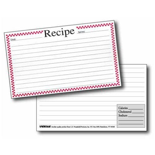 Labeleze Recipe Cards with Protective Covers 3 x 5 Red Checks
