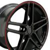 """19"""" Fits Chevrolet - Corvette C6 Z06 Wheel - Black Red Banding 19x10"""