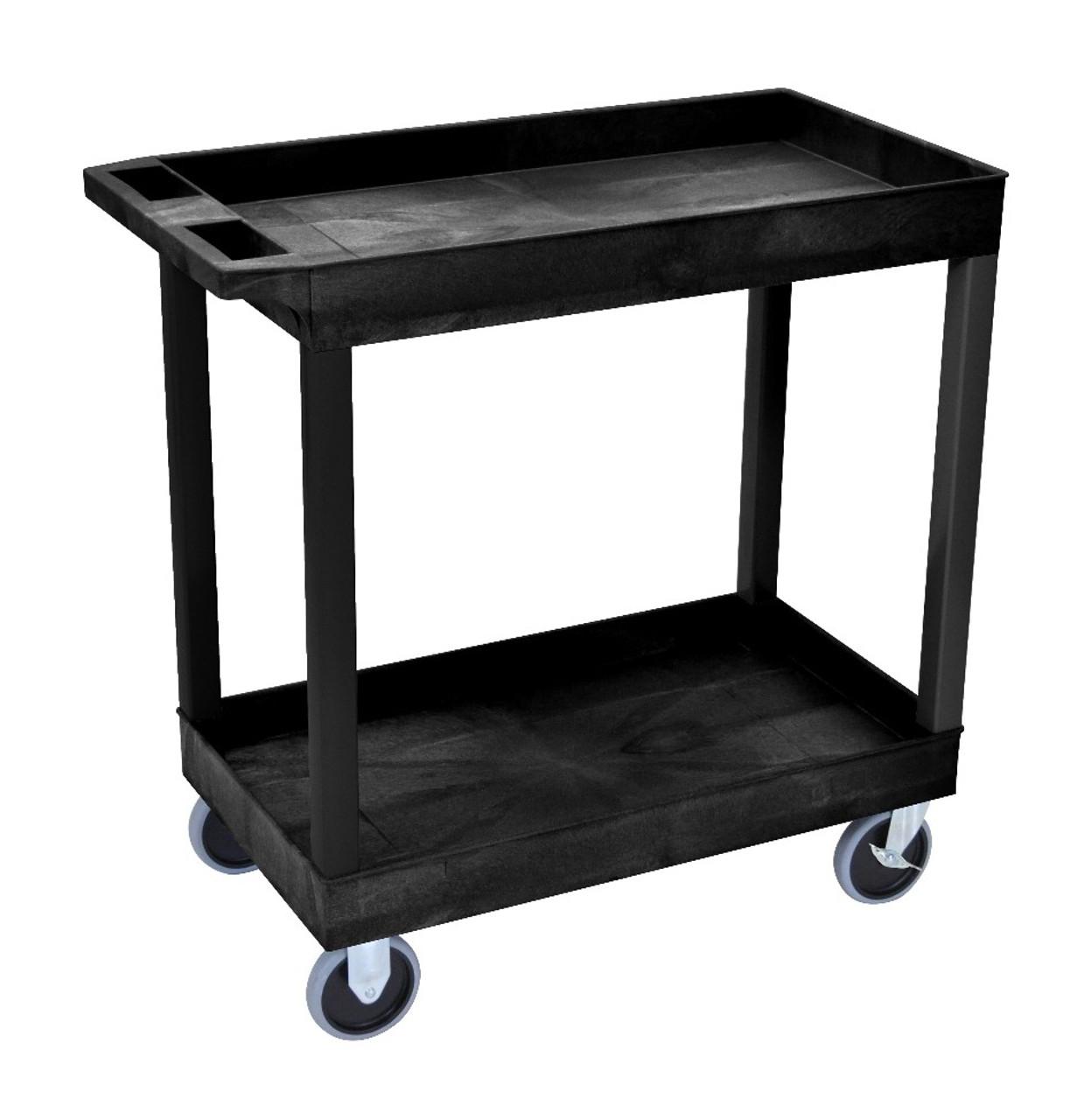 Auto Detailing Heavy Duty Black Tub Cart|Black Tub Cart 2 Shelves