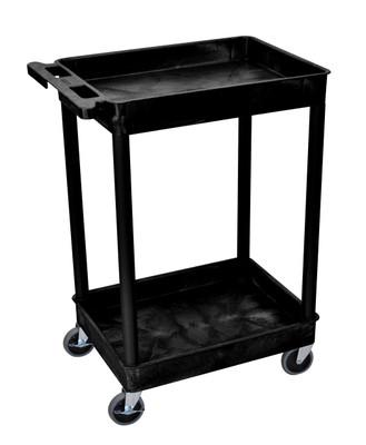 Black Tub Cart 2-Shelf