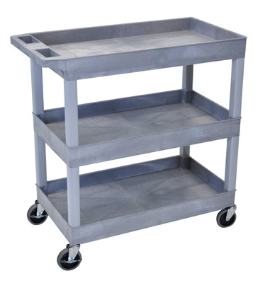 18 x 35 ¼ Inch Gray Tub Cart 3 shelves Item EC111-G