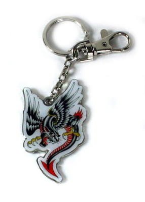 Ed Hardy Panther Dragon Chrome Keychain