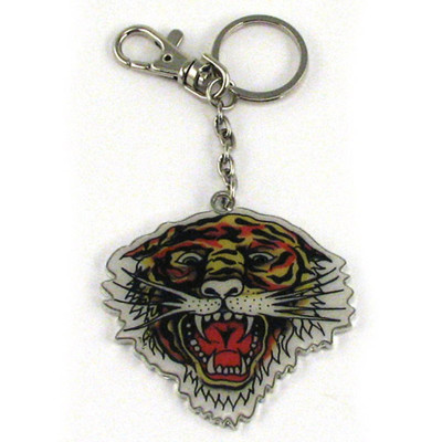 Ed Hardy Tiger Open Mouth Chrome Keychain