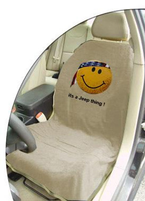 Jeep Tan Smiley Face Car Seat Cover Towel