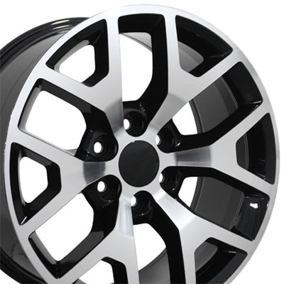 "20"" Fits GMC - Sierra 1500 Wheel - Black Machined Face 20x9"