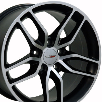 "19"" Fits Chevrolet - Corvette Stingray Wheel - Matte Black with a Machined Face 19x10"