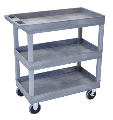 18 x 32 Heavy Duty Gray Tub Cart 3 Shelves Model EC111HD-G