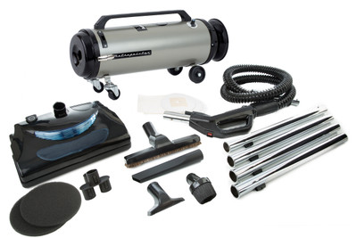 Professional Evolution with Electric Power Nozzle Full-Size Canister Vac ADM4PNHSNBFVC Satin Nickel / Black Finish