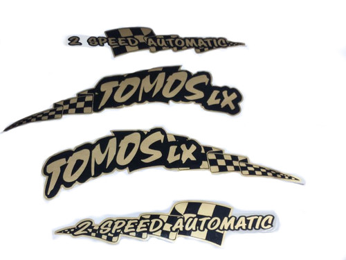 NOS Tomos Original Top Tank LX Decal Set - Black and Gold
