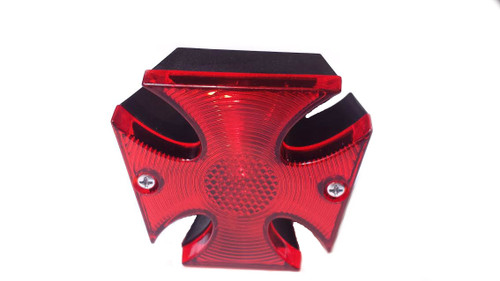 Footed Cross Chopper Moped Tail Light - Black housing