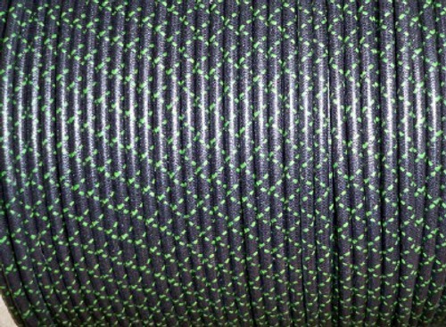 Cotton Braided Spark Plug Wire, Black with Green Tracers *by the foot*