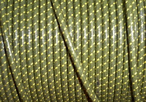 Cotton Braided Spark Plug Wire, Green with Yellow Tracers *by the foot*