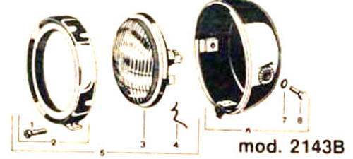 "CEV 5"" Round Metal Moped Headlight for Puch, Tomos and more. *Gloss Black*"
