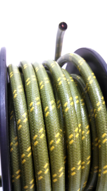 Cotton Braided Spark Plug Wire, Green with Double Yellow Tracers *by the foot*