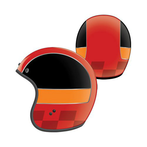 Fly Racing Retro .38 Helmet, Red, Orange, Black