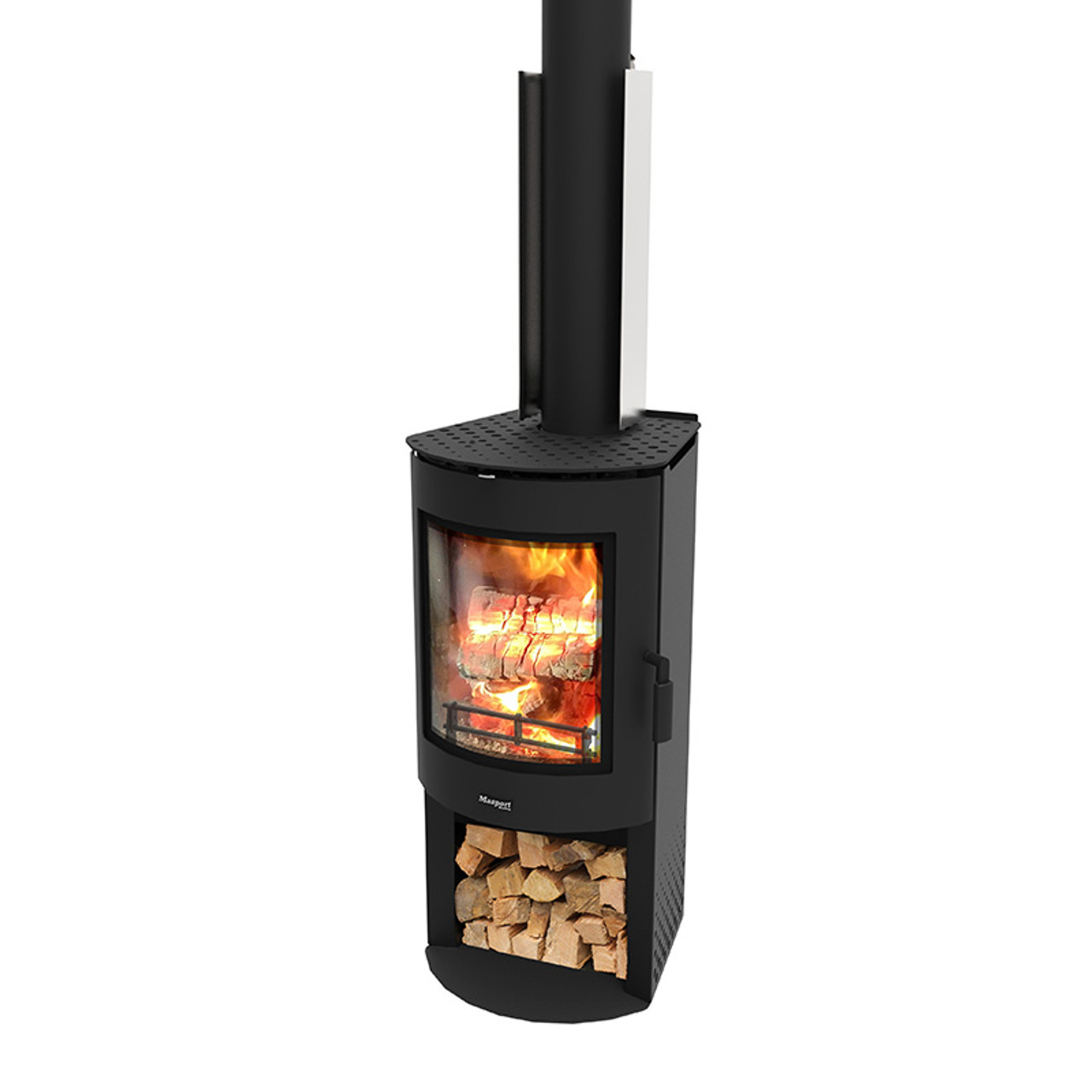 AkaroaWS - Freestanding Radian Wood Burner With Wood Stacker