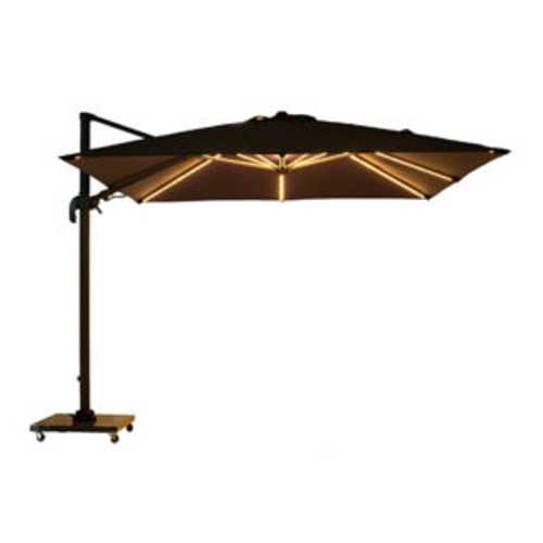 Lethaby 3.0m Square Cantilever Umbrella with LED Lights  & Striped Planosol Shade