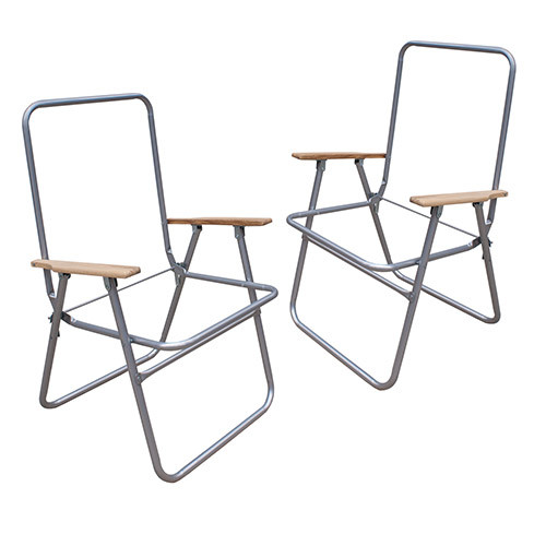 Two Steel High Back Lawn Chair Frame With Wood Arms