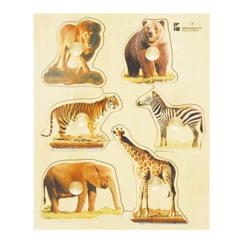 EduShape Large Knob Wooden Puzzle - Wild Animals